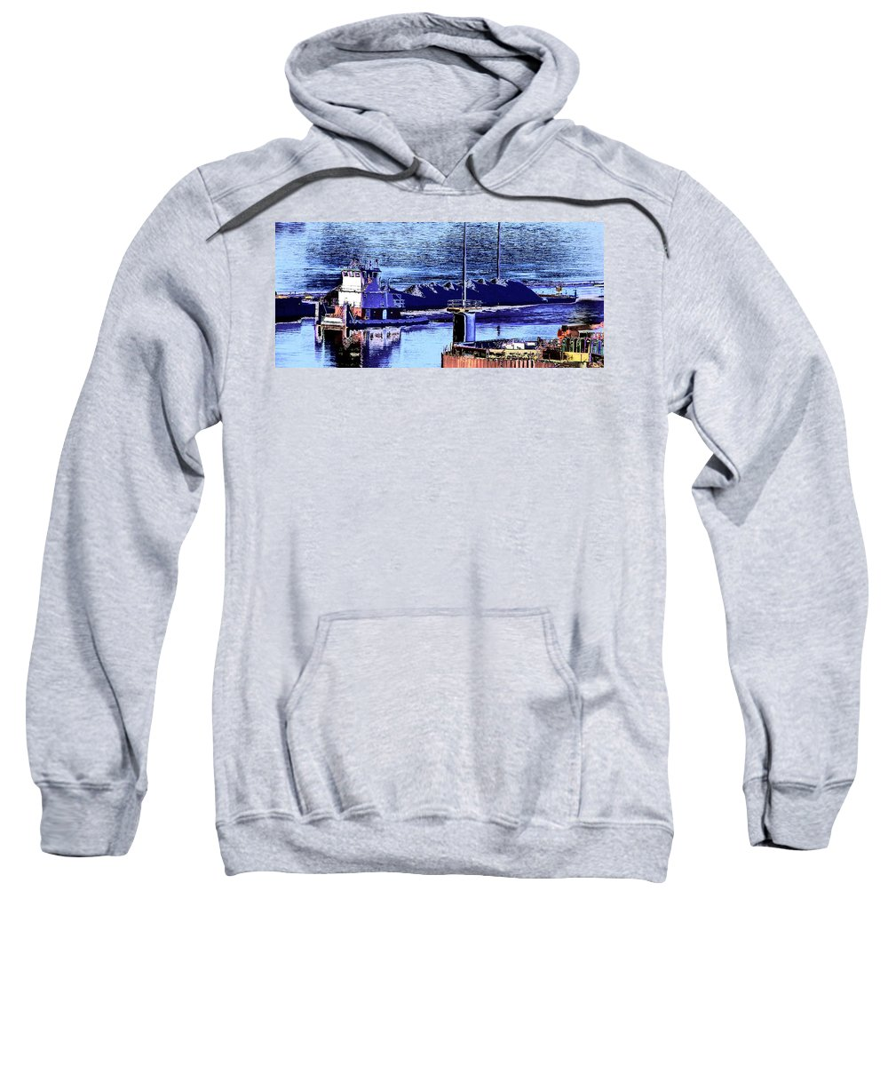 Abstract Sweatshirt featuring the photograph Tug Reflections by Rachel Christine Nowicki