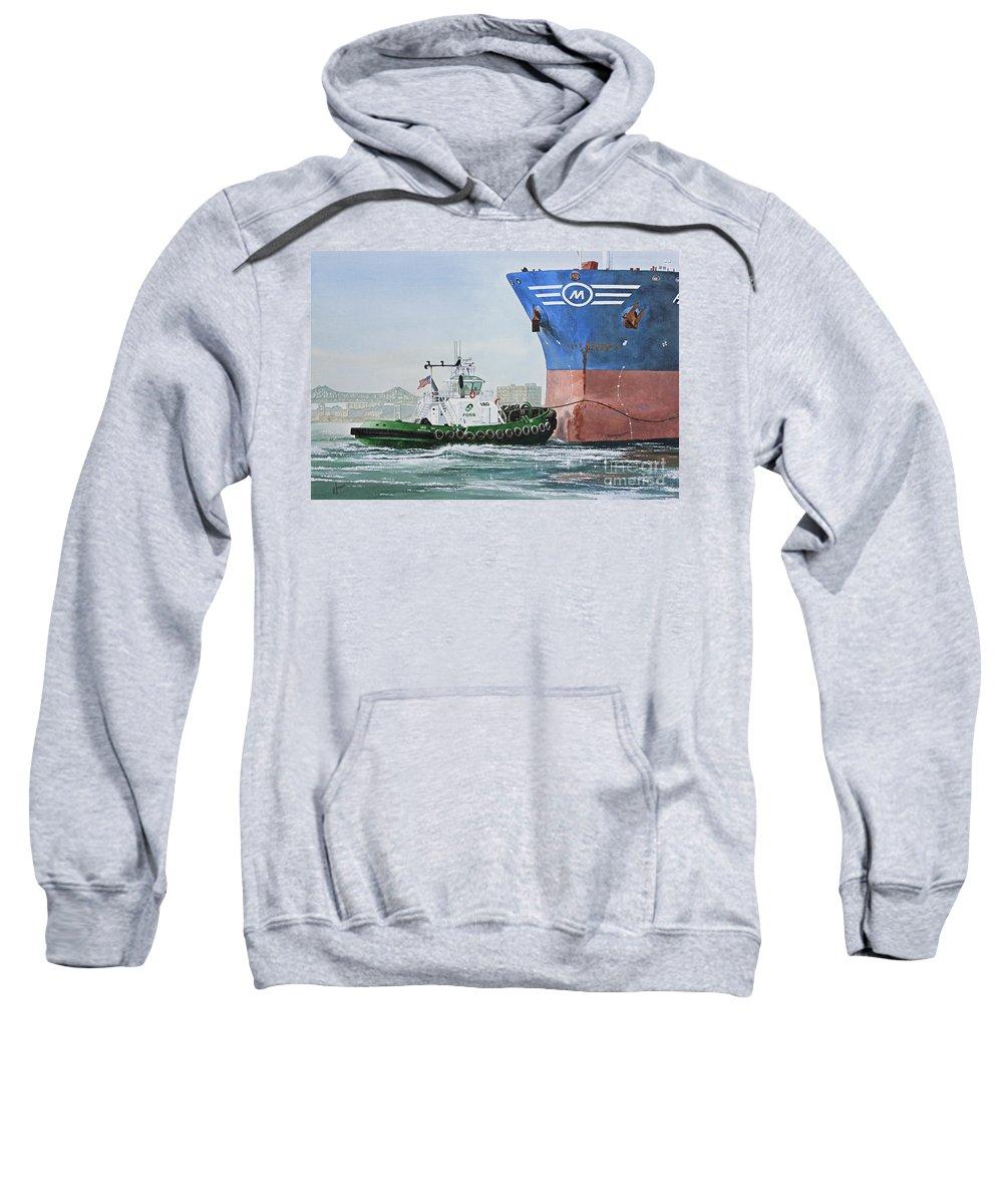 American Marine Artist Framed Print Sweatshirt featuring the painting Tugboat Leo Foss by James Williamson