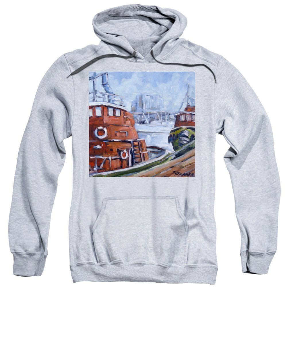 Cascade Sweatshirt featuring the painting Tugs In Harbour by Richard T Pranke