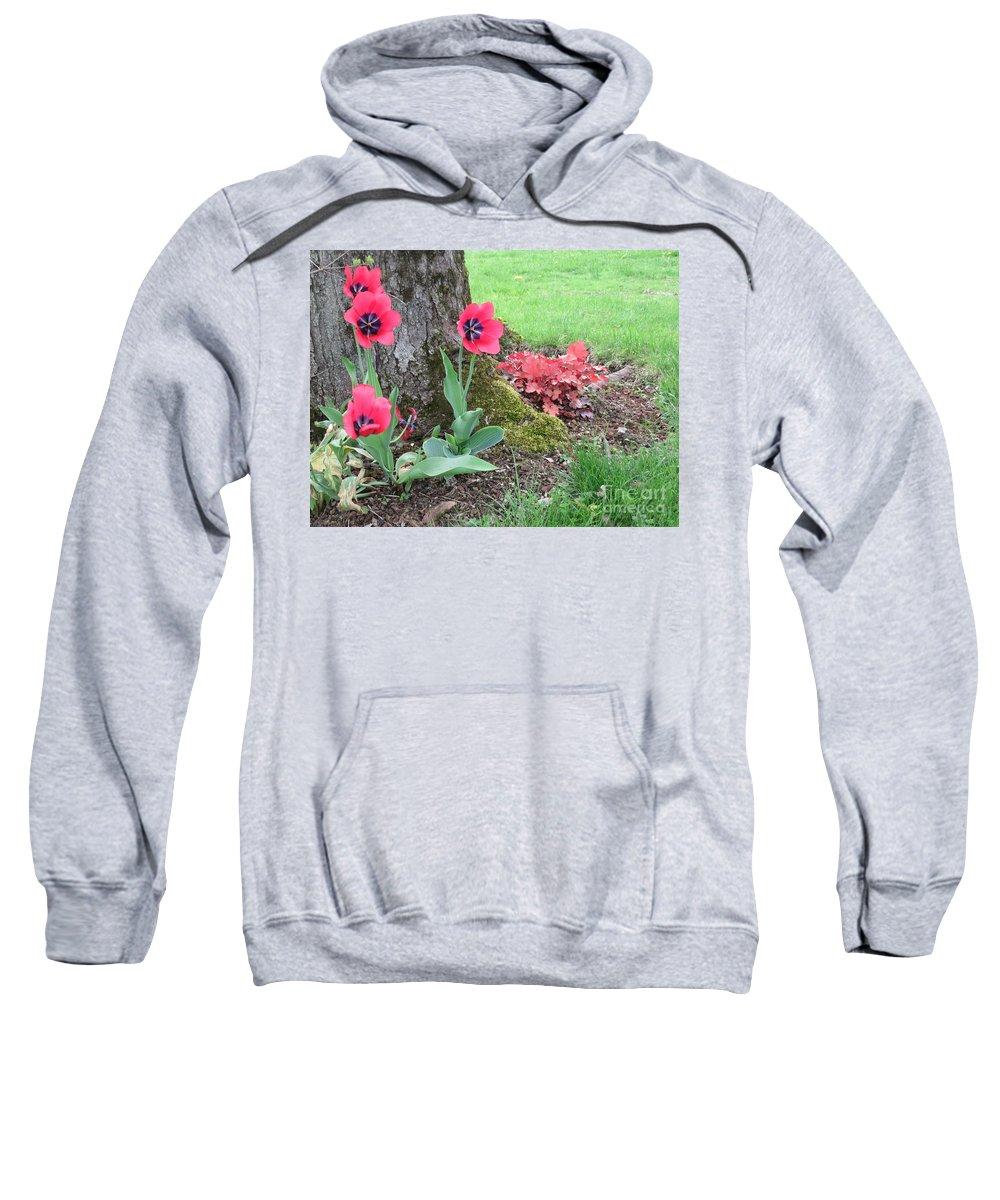 Blue Sweatshirt featuring the photograph Tulip Poppie by Lyssjart Sj