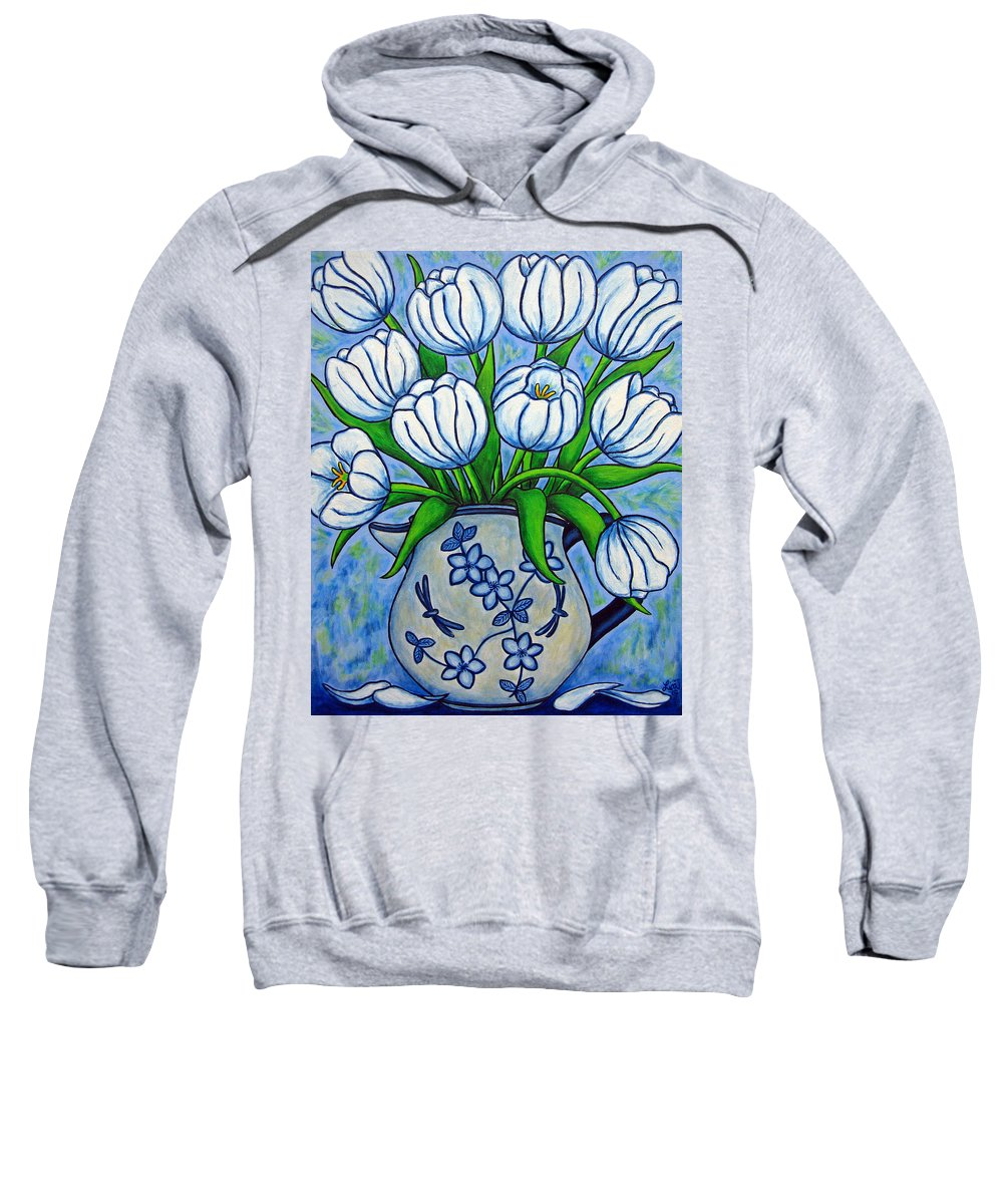 Flower Sweatshirt featuring the painting Tulip Tranquility by Lisa Lorenz