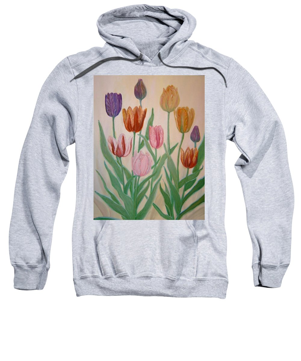 Flowers Of Spring Sweatshirt featuring the painting Tulips by Ben Kiger