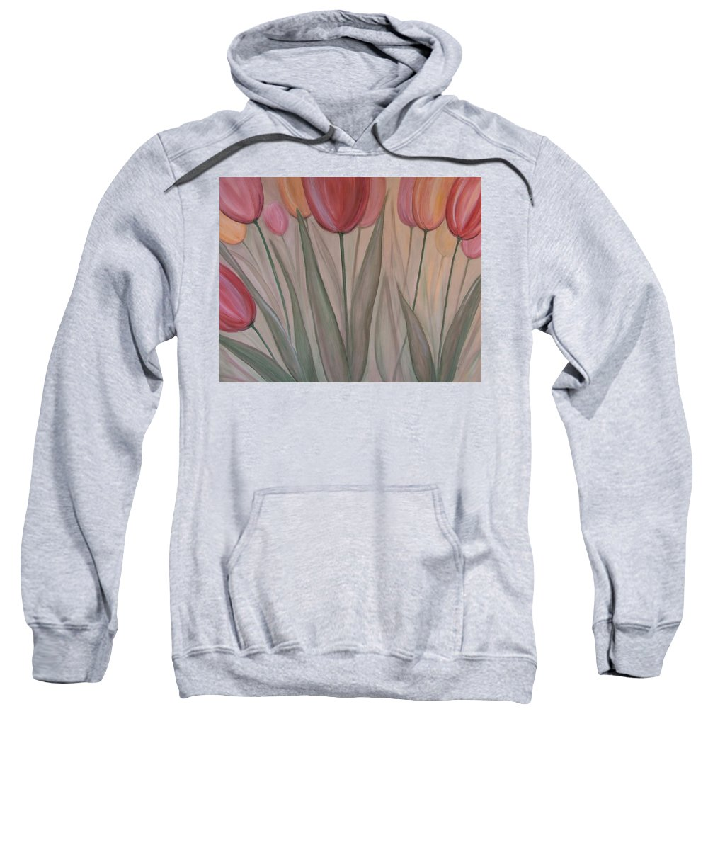 Tulips Sweatshirt featuring the painting Tulips For Carol by Anita Burgermeister
