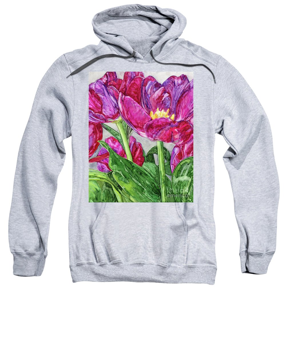 Alcohol Ink Sweatshirt featuring the painting Tulips From A Friend by Vicki Baun Barry