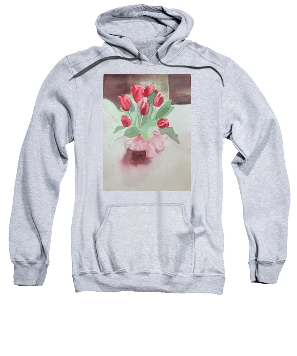Flower Sweatshirt featuring the painting Tulips by Katherine Berlin
