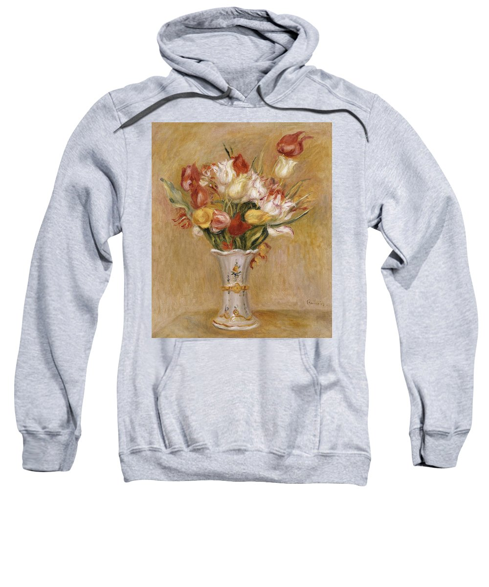 Impressionist; Impressionism; Still Life; Flower; Vase Sweatshirt featuring the painting Tulips by Pierre Auguste Renoir