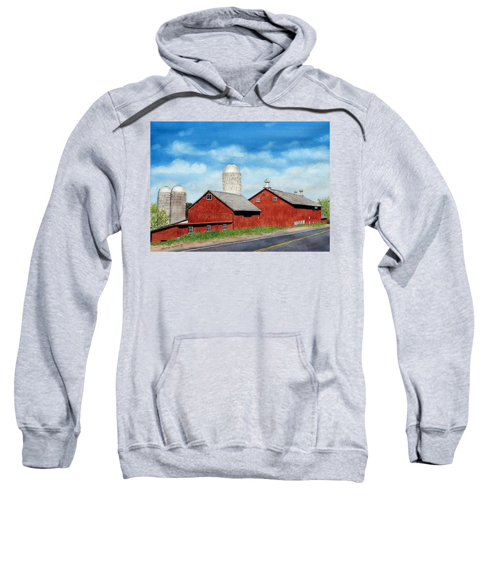 Farm Sweatshirt featuring the painting Tulmeadow Farm by Sharon Farber