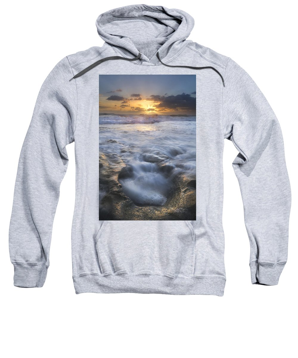 Blowing Sweatshirt featuring the photograph Tumbling Surf by Debra and Dave Vanderlaan