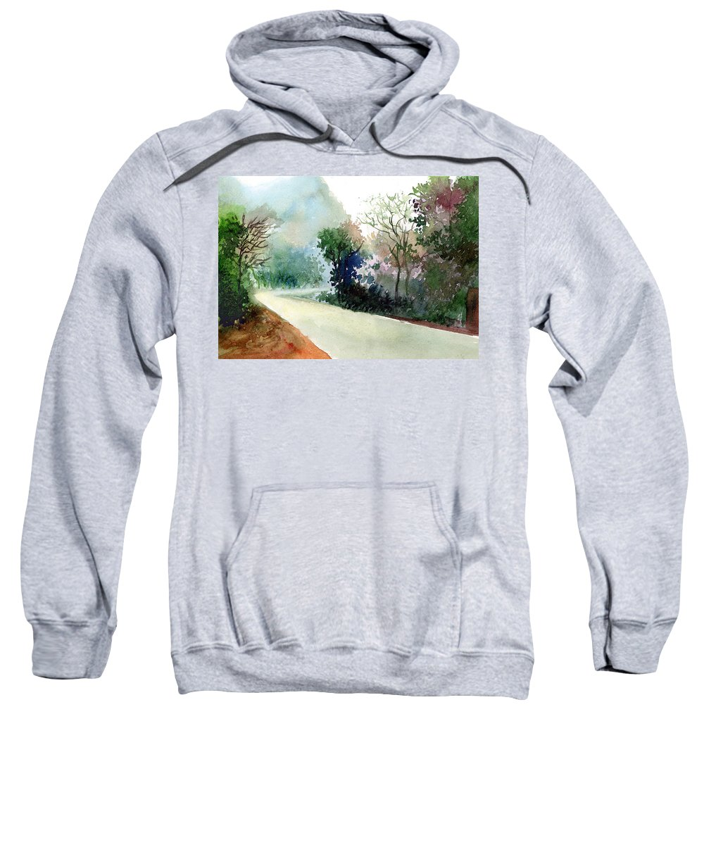 Landscape Water Color Nature Greenery Light Pathway Sweatshirt featuring the painting Turn Right by Anil Nene