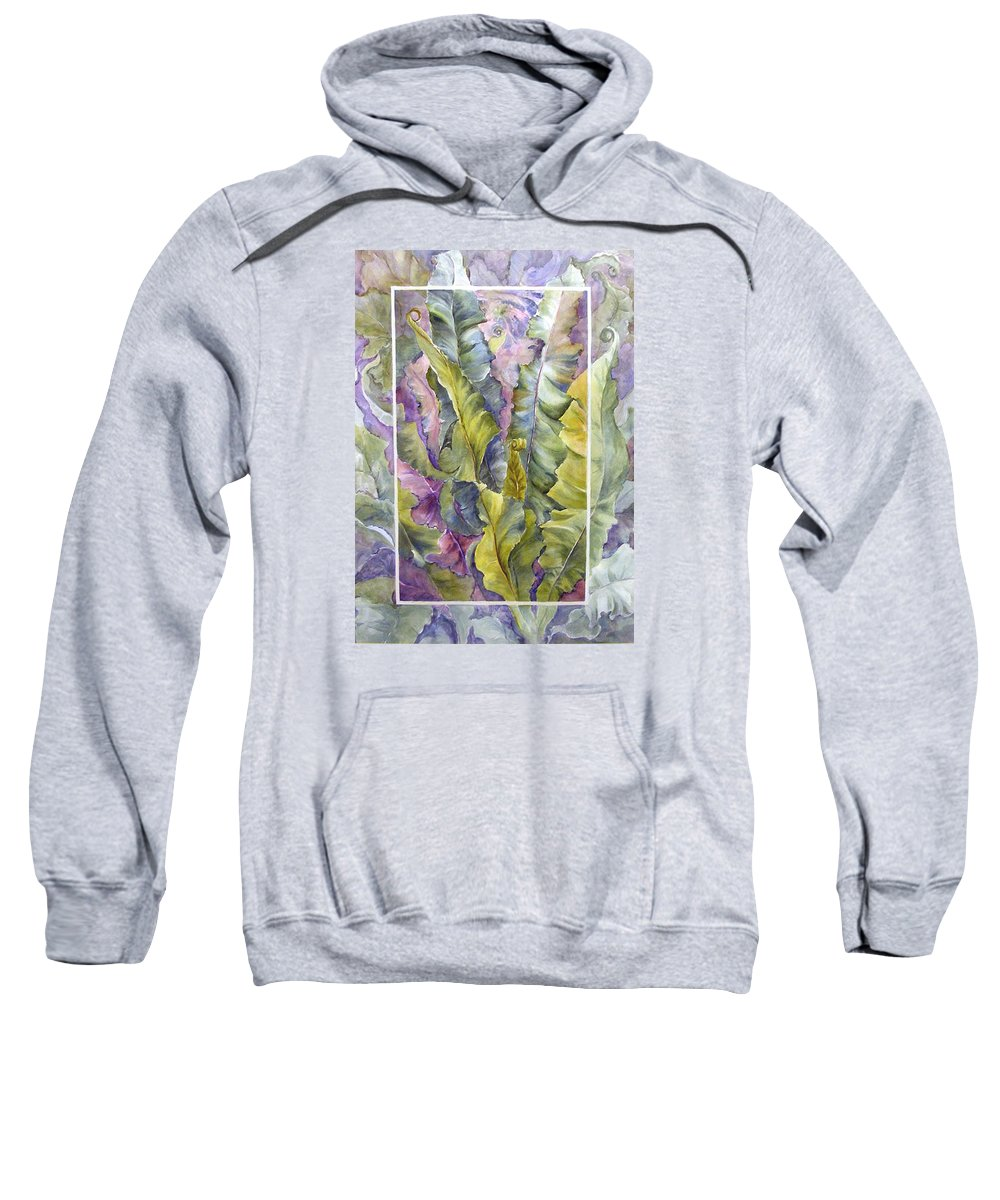 Ferns;floral; Sweatshirt featuring the painting Turns of Ferns by Lois Mountz