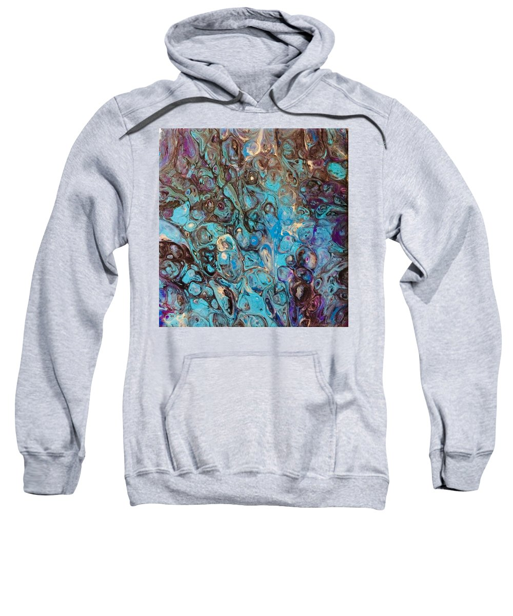 Turquoise Sweatshirt featuring the mixed media Turquoise Intrigue by Holly Winn Willner