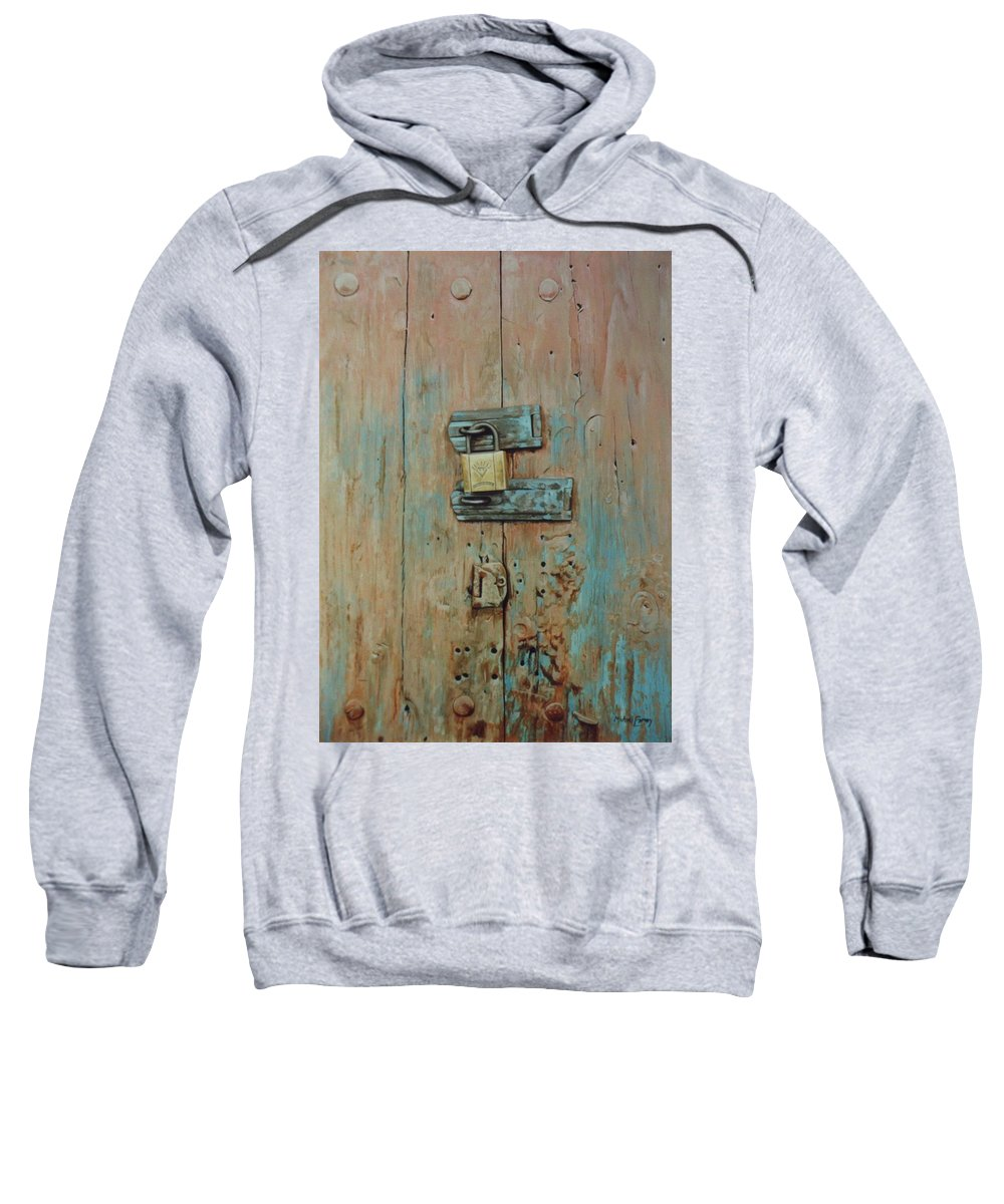 Hyperrealism Sweatshirt featuring the painting Turquoise Turning Pink by Michael Earney