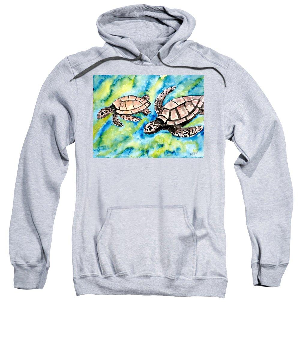 Love Sweatshirt featuring the painting Turtle Love Pair Of Sea Turtles by Derek Mccrea