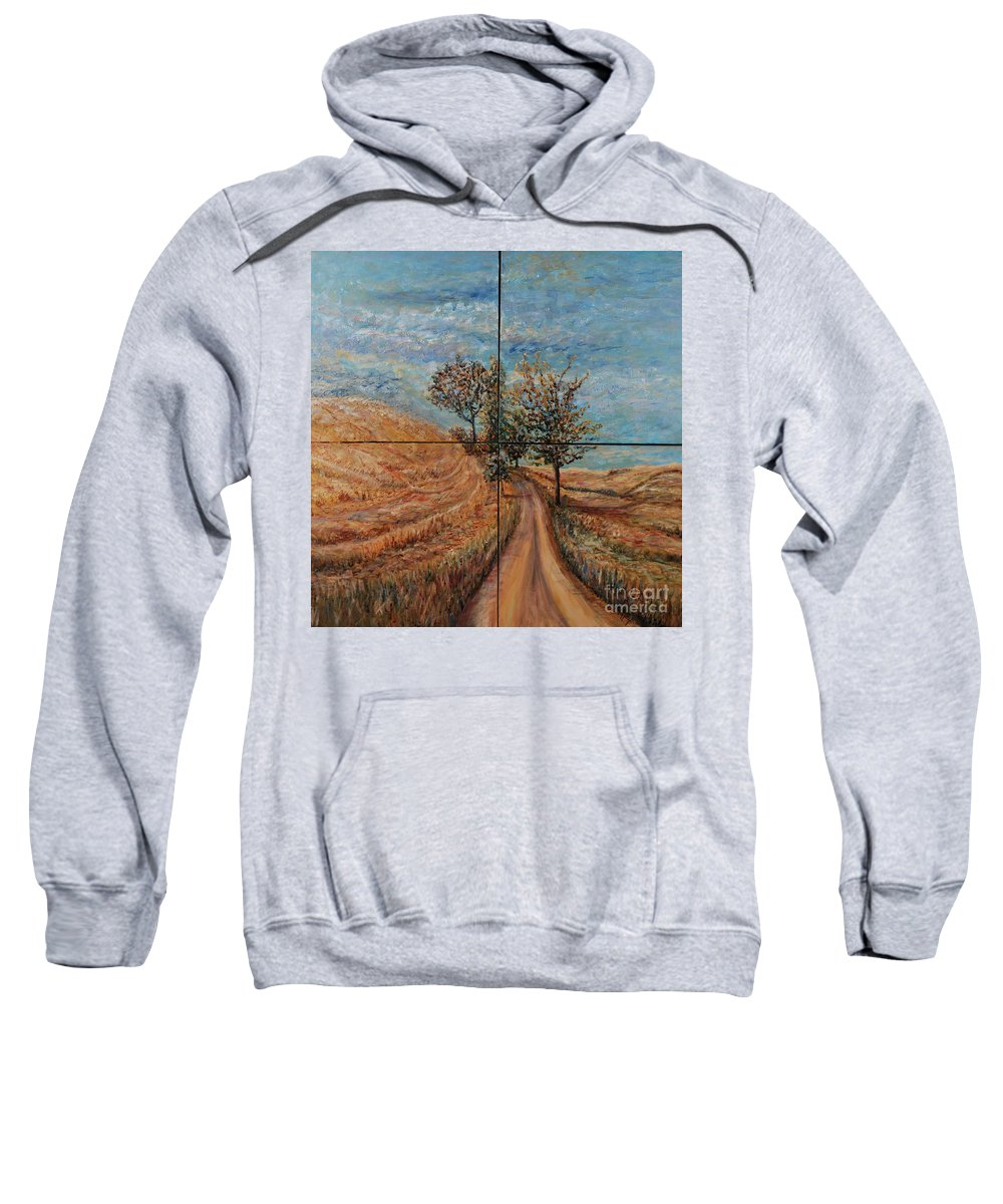 Landscape Sweatshirt featuring the painting Tuscan Journey by Nadine Rippelmeyer