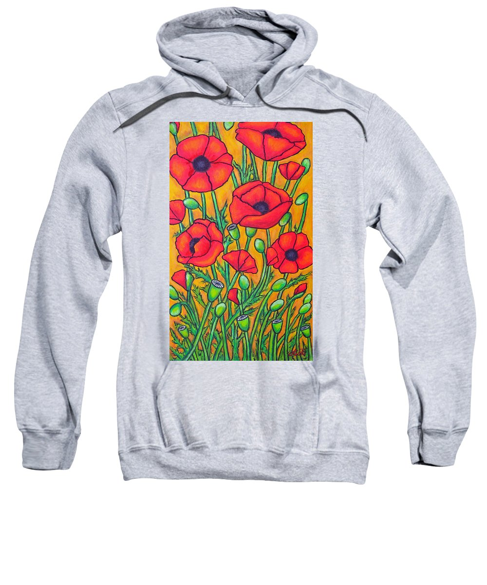 Poppies Sweatshirt featuring the painting Tuscan Poppies - Crop 2 by Lisa Lorenz