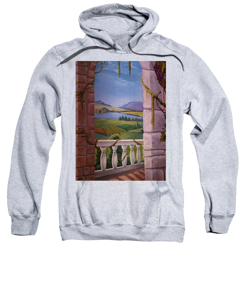 Sweatshirt featuring the painting Tuscan Terrace by Olena Rybakov