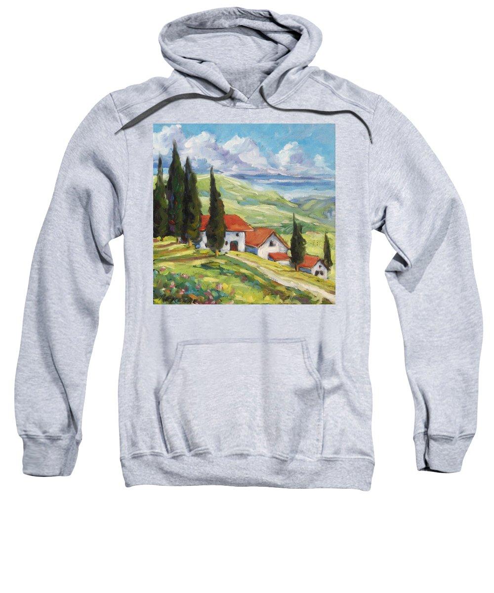 Tuscan Sweatshirt featuring the painting Tuscan Villas by Richard T Pranke