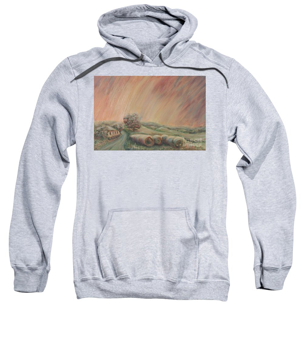 Landscape Sweatshirt featuring the painting Tuscany Hayfields by Nadine Rippelmeyer