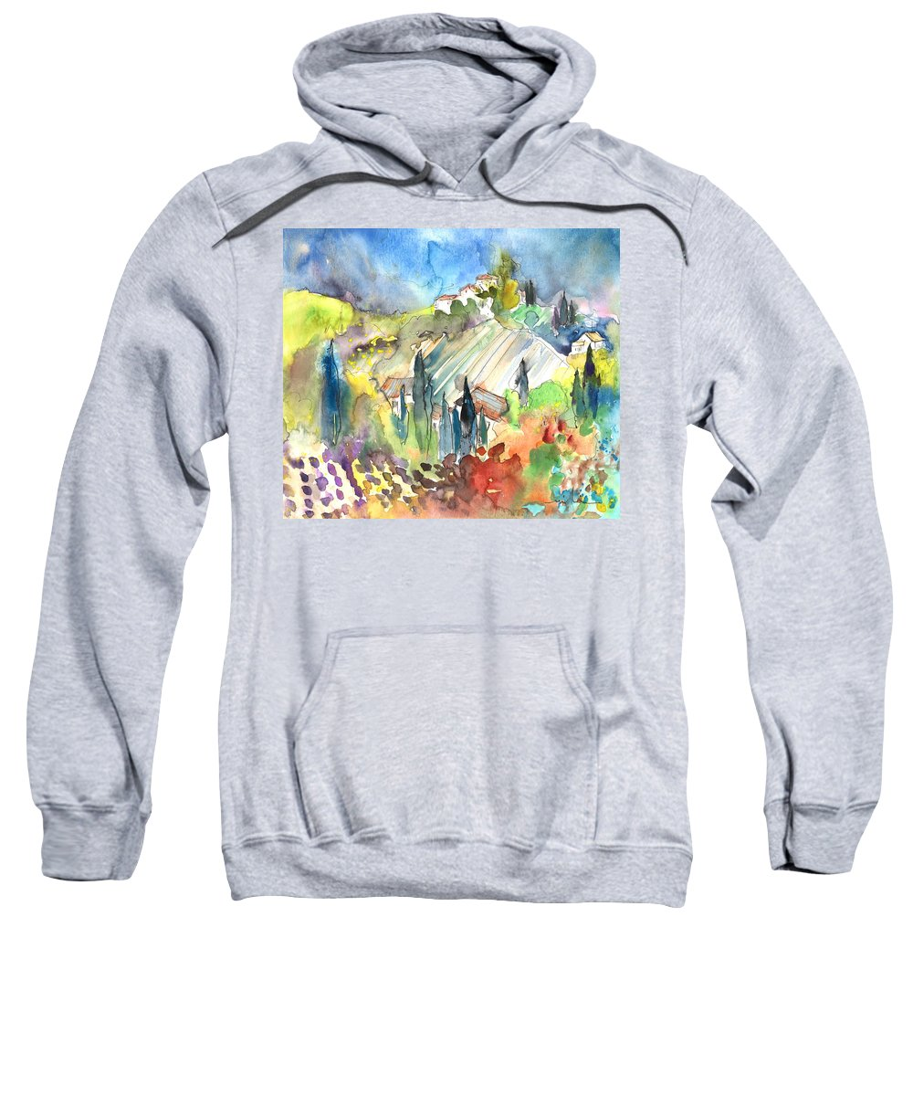 Italy Sweatshirt featuring the painting Tuscany Landscape 03 by Miki De Goodaboom