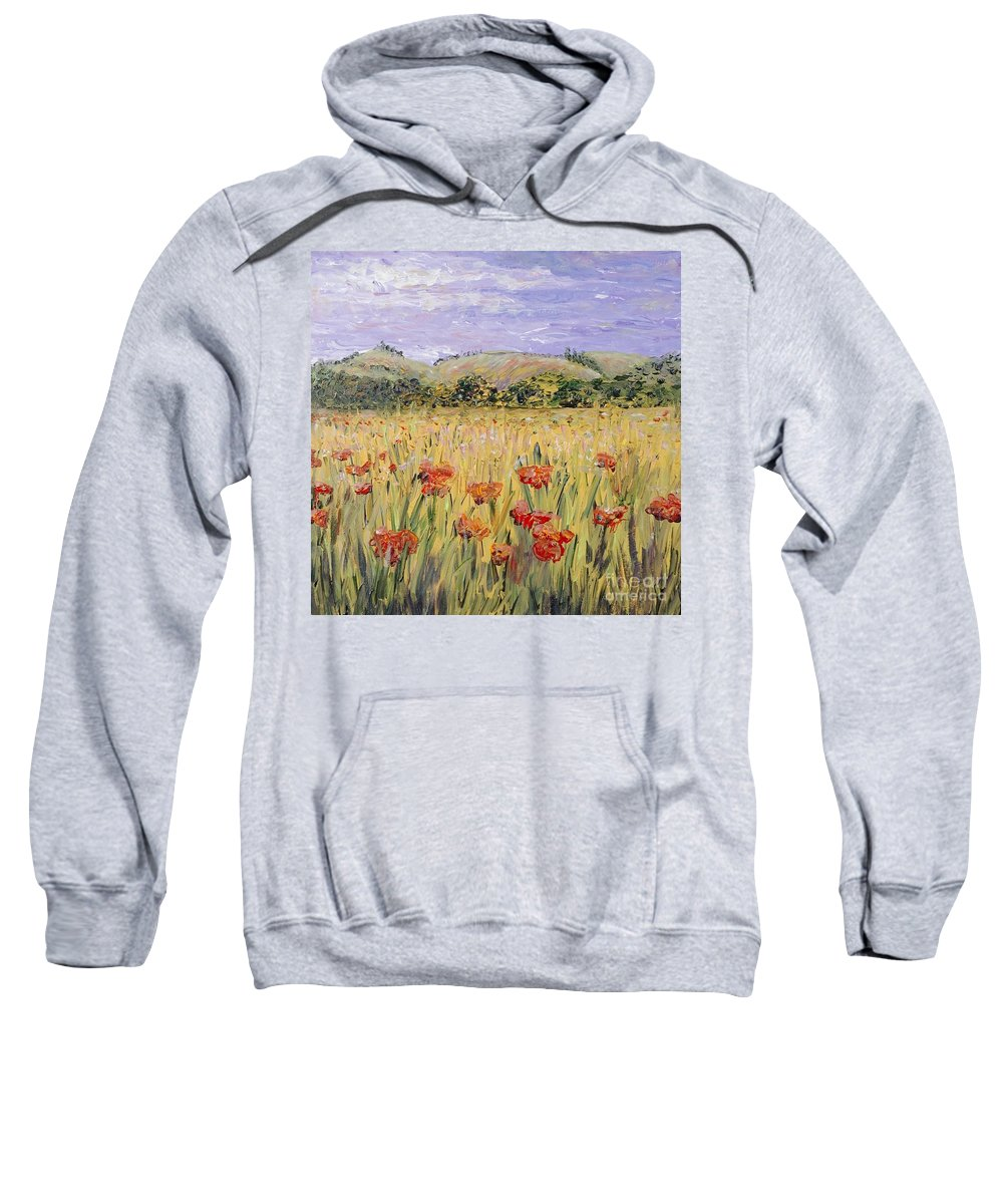 Poppies Sweatshirt featuring the painting Tuscany Poppies by Nadine Rippelmeyer
