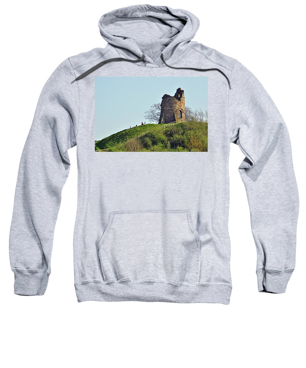 Green Sweatshirt featuring the photograph Tutbury Castle Ruins by Rod Johnson
