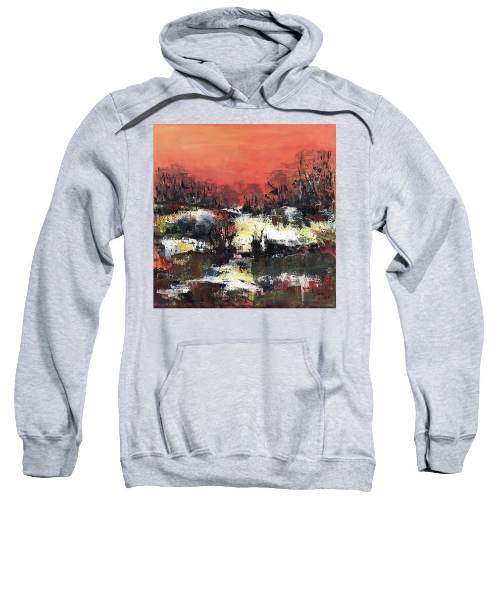 Abstract Sweatshirt featuring the painting Twilight Madness by Aniko Hencz