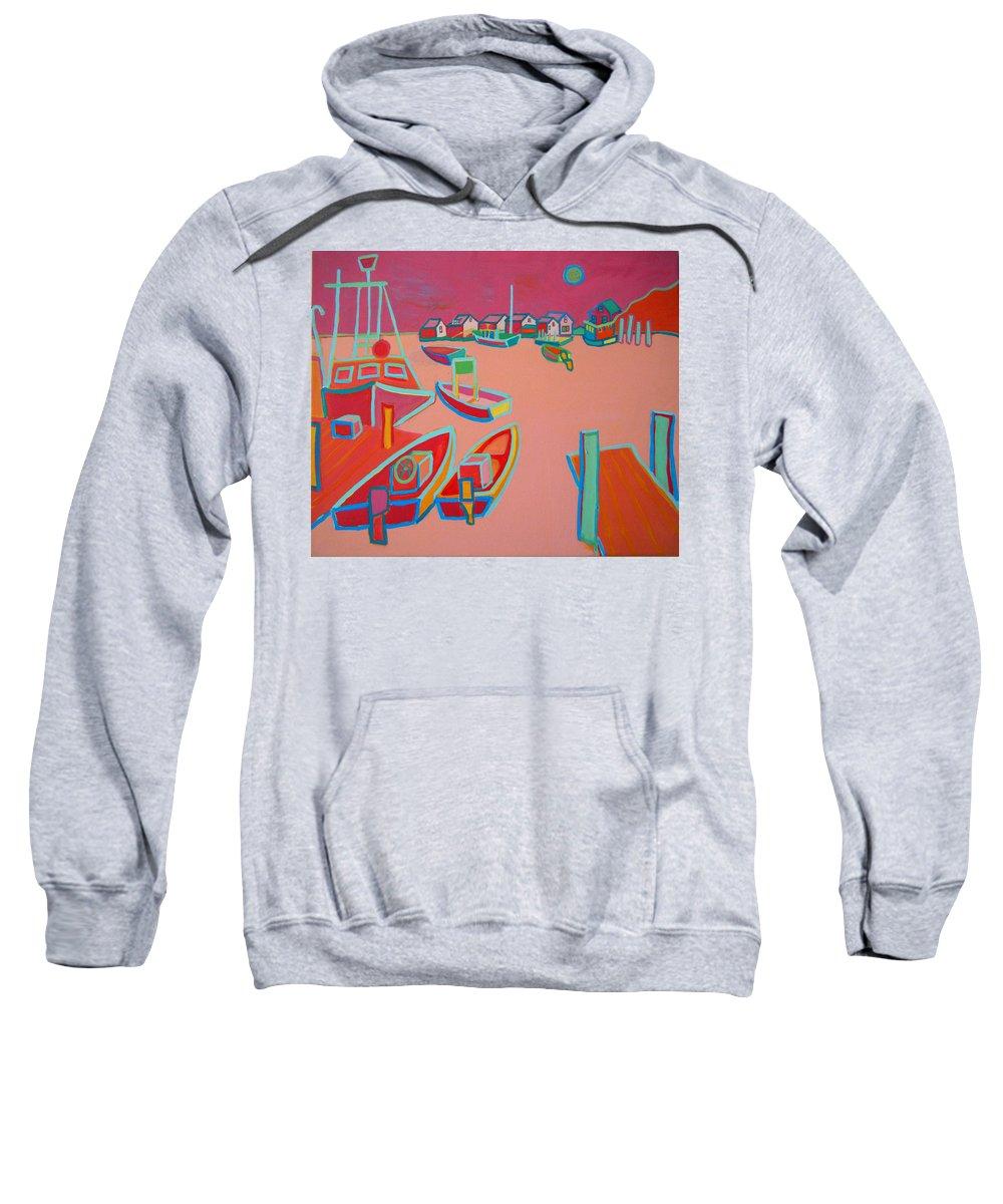Seascape Sweatshirt featuring the painting Twilight On Menemsha by Debra Bretton Robinson