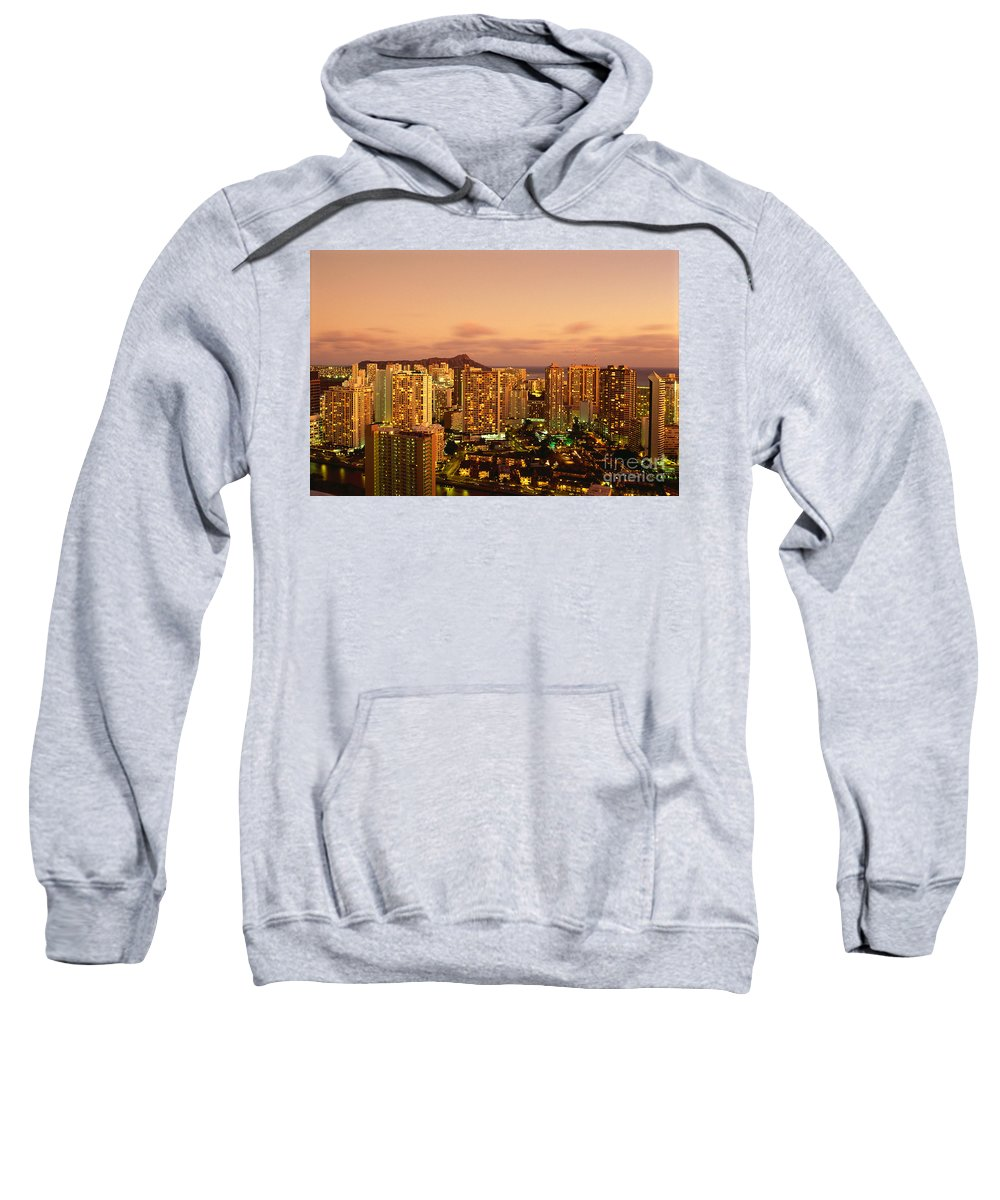 Afternoon Sweatshirt featuring the photograph Twilight Waikiki by Carl Shaneff - Printscapes