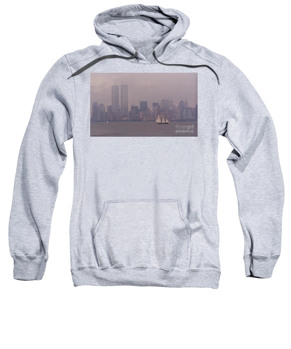 Twin Towers Sweatshirt featuring the photograph Twin Towers, Nyc- 1999 by Sonal Dave