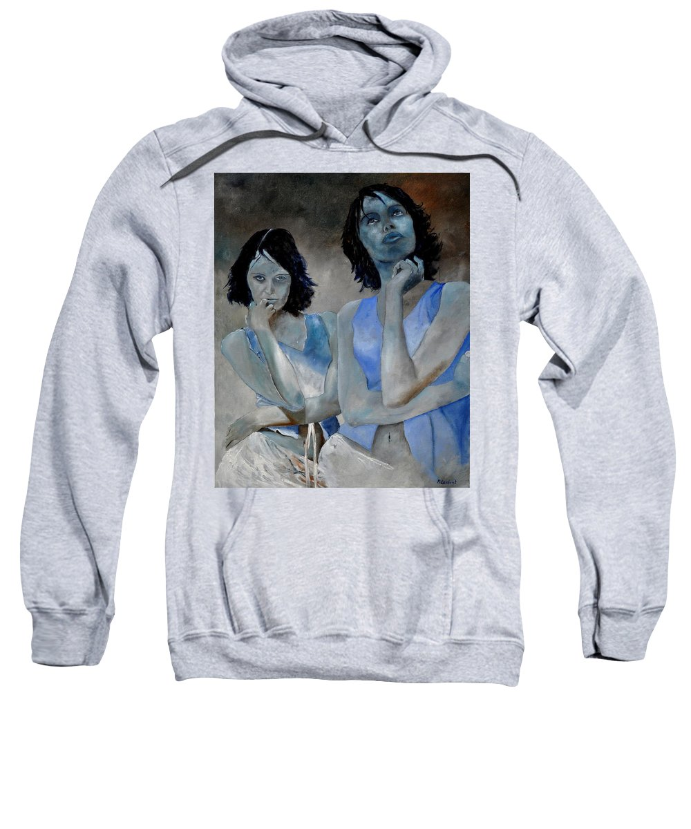 Model Sweatshirt featuring the painting Twins by Pol Ledent