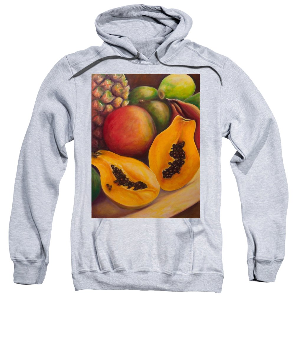 Papaya Sweatshirt featuring the painting Twins by Shannon Grissom