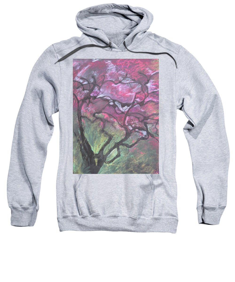 Pastel Sweatshirt featuring the drawing Twisted Cherry by Leah Tomaino