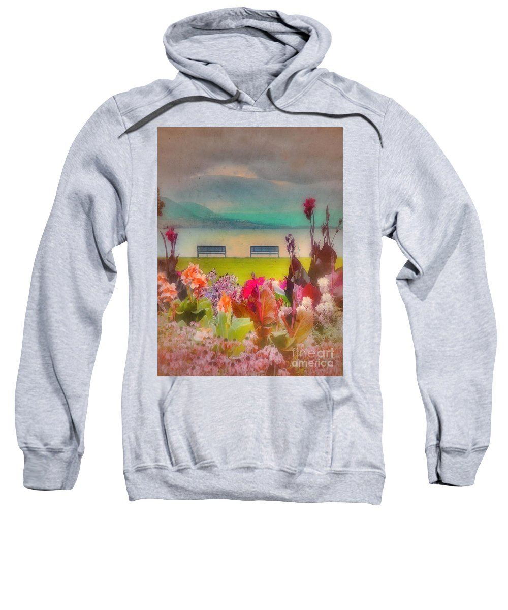 Lake Sweatshirt featuring the photograph Two Benches by Tara Turner