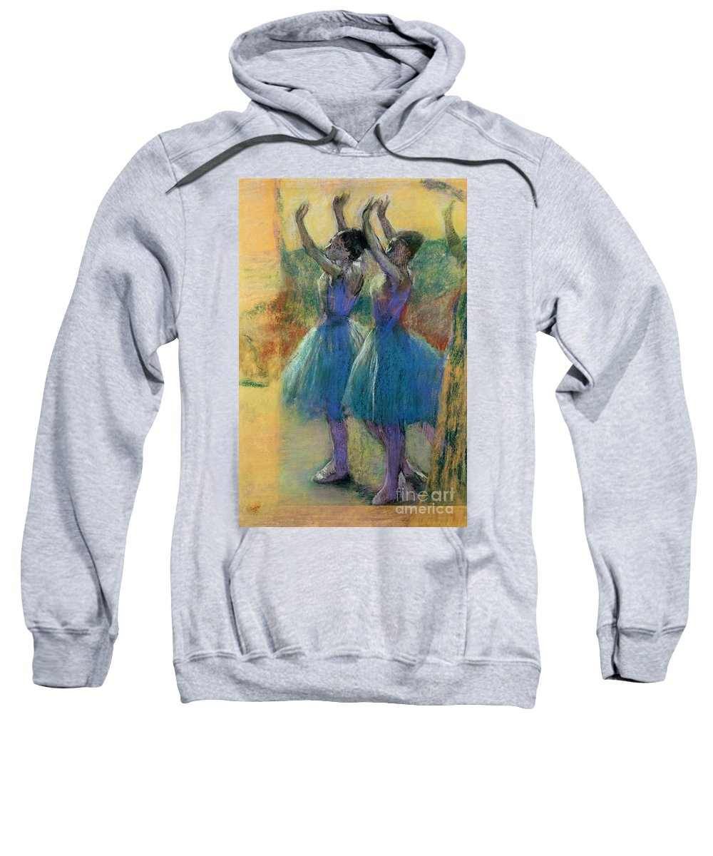 Two Blue Dancers (pastel On Paper) By Edgar Degas (1834-1917) Sweatshirt featuring the pastel Two Blue Dancers by Edgar Degas