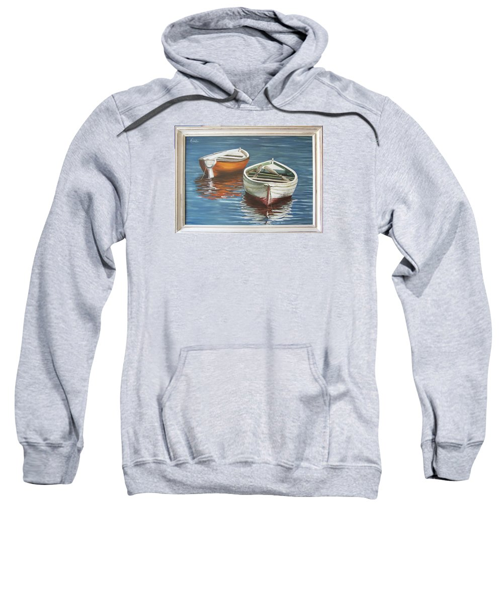 Boats Reflection Seascape Water Boat Sea Ocean Sweatshirt featuring the painting Two Boats by Natalia Tejera