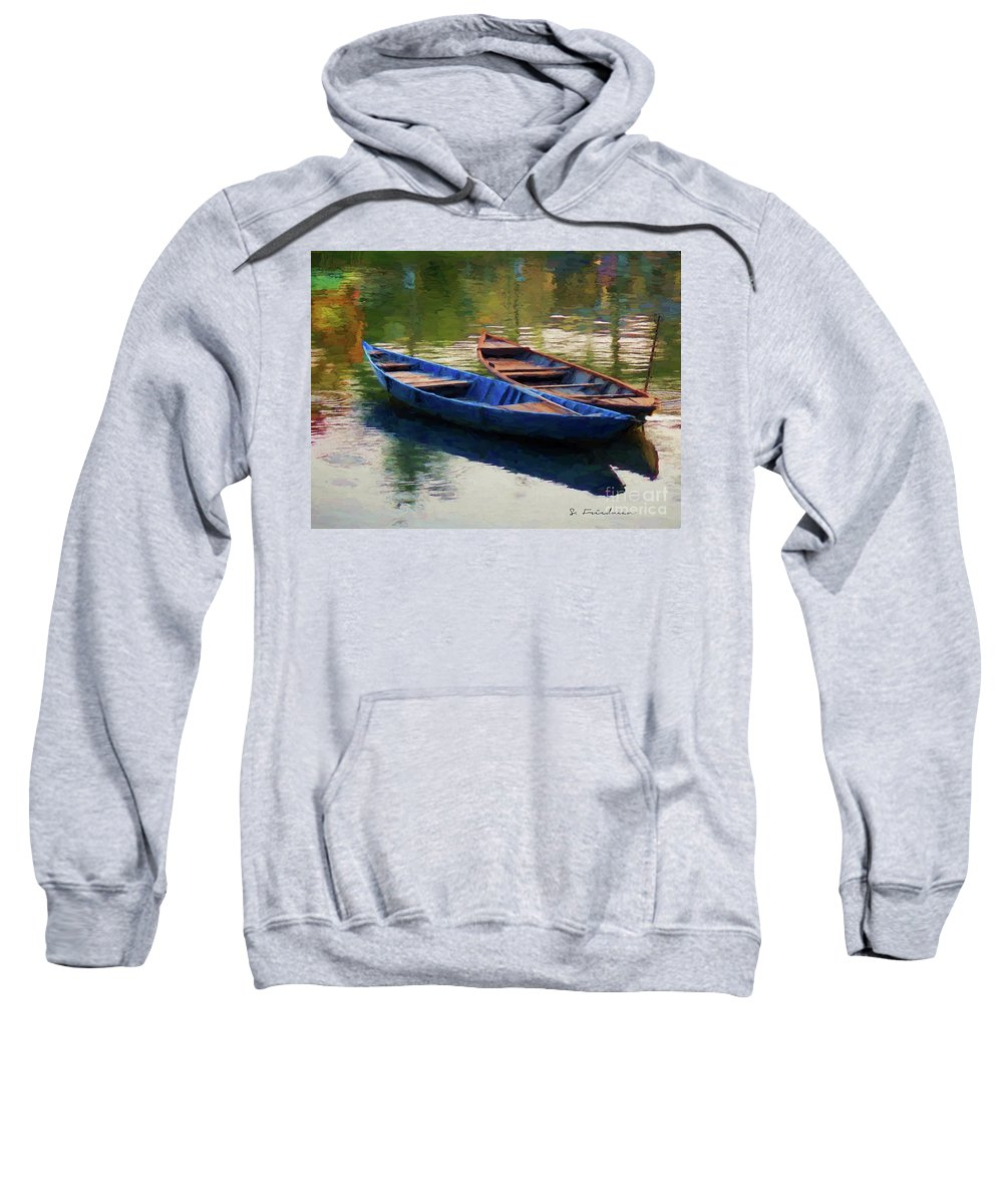 Sweatshirt featuring the digital art Two Boats by Steven Friedman