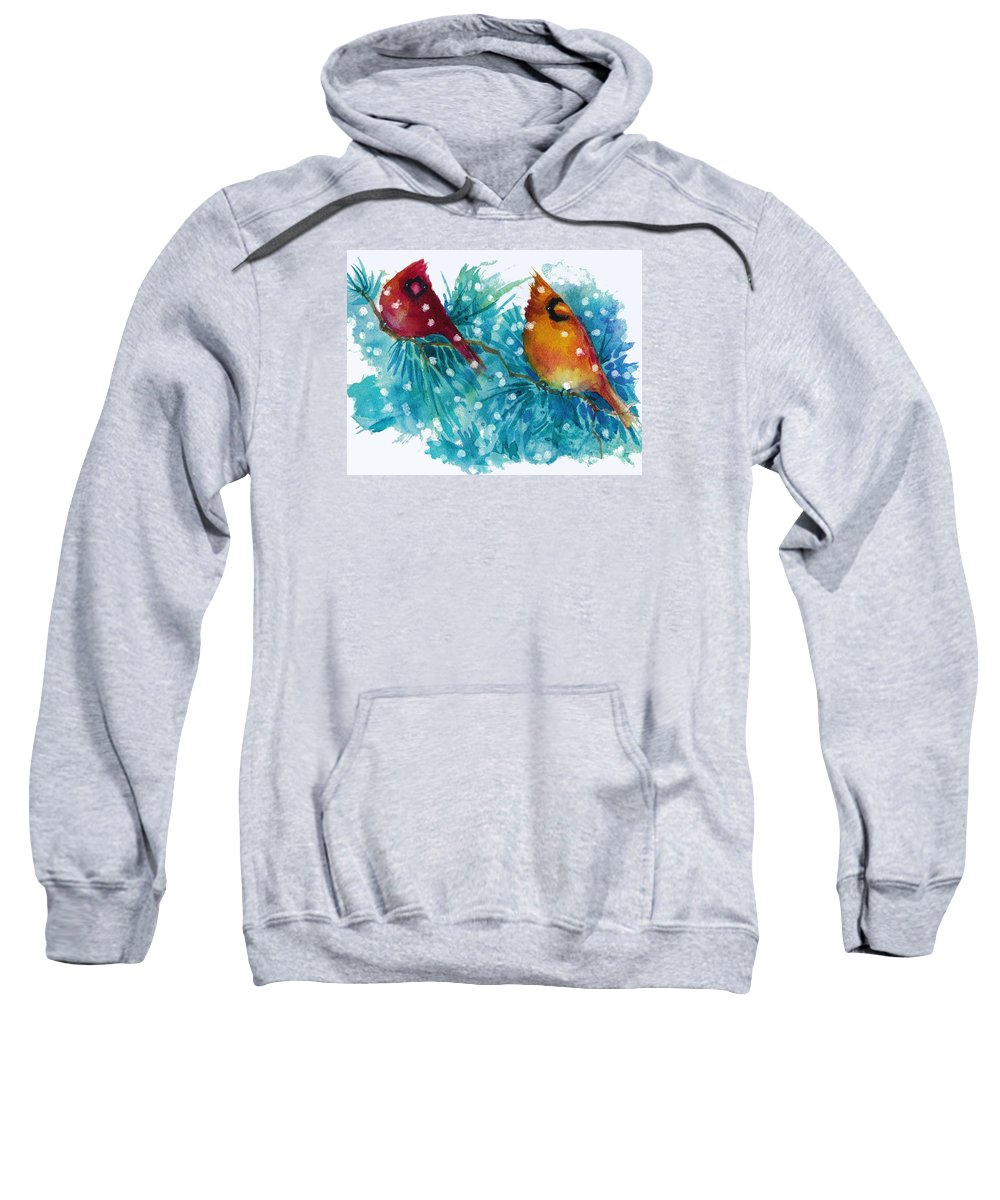 Birds Sweatshirt featuring the painting Two Cardinals by Peggy Wilson