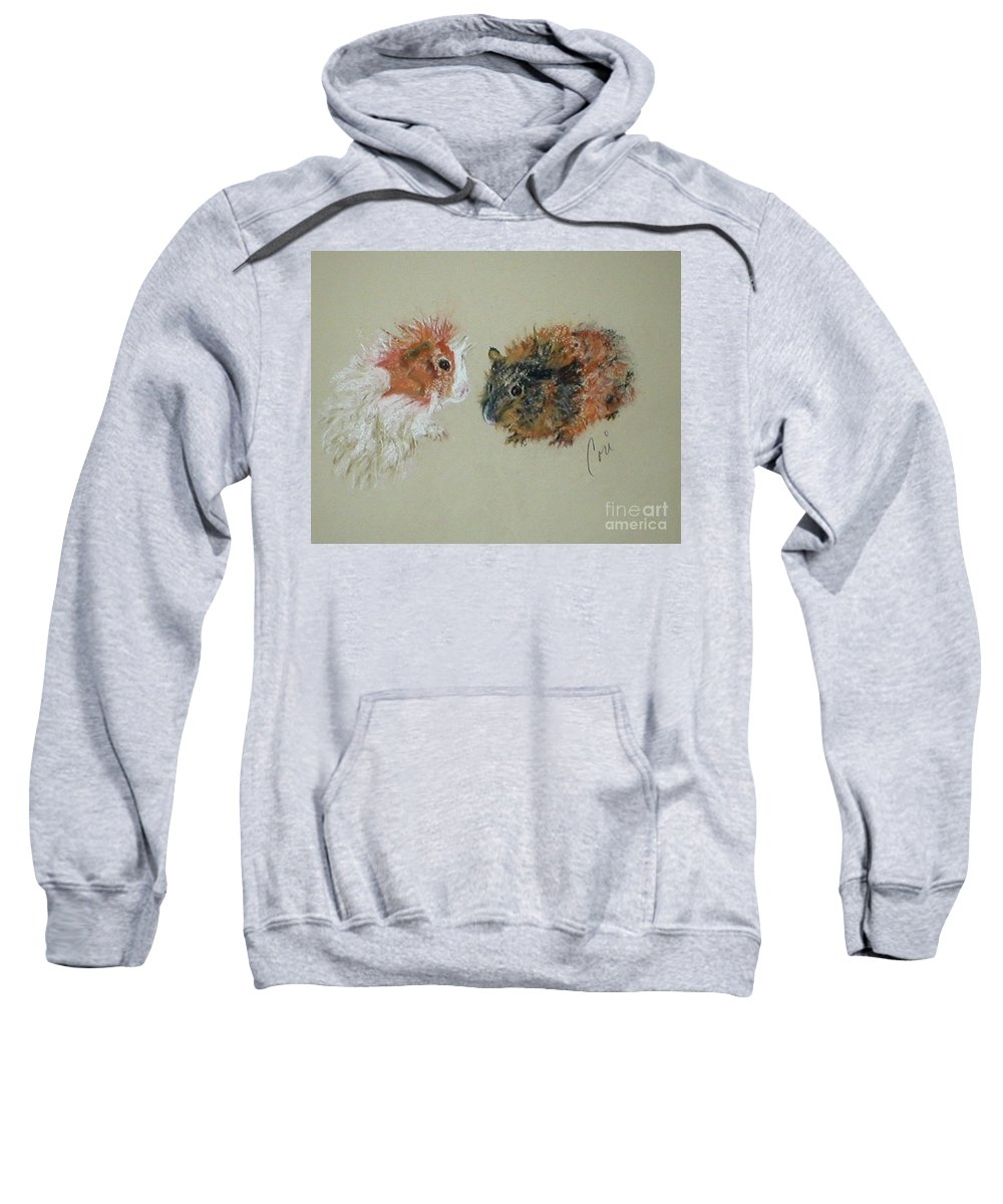 Guineas Sweatshirt featuring the drawing Two Guineas by Cori Solomon
