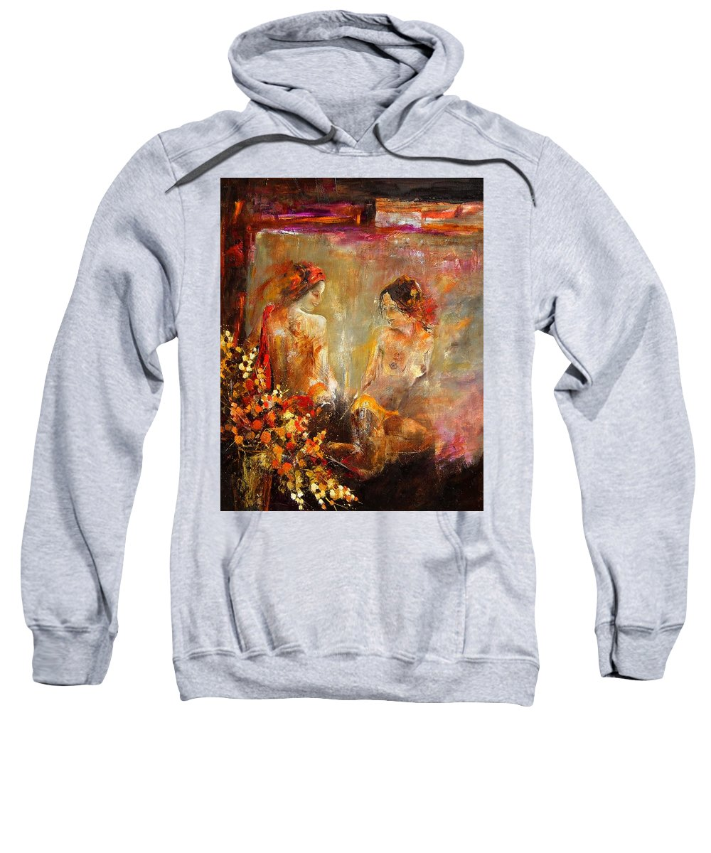 Girl Nude Sweatshirt featuring the painting Two Nudes by Pol Ledent
