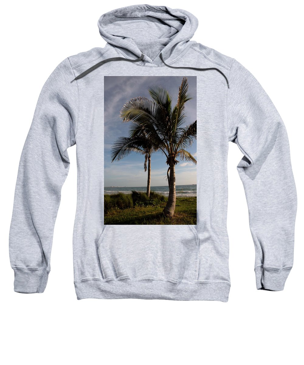 Palms Sweatshirt featuring the photograph Two Palms And The Gulf Of Mexico by Susanne Van Hulst