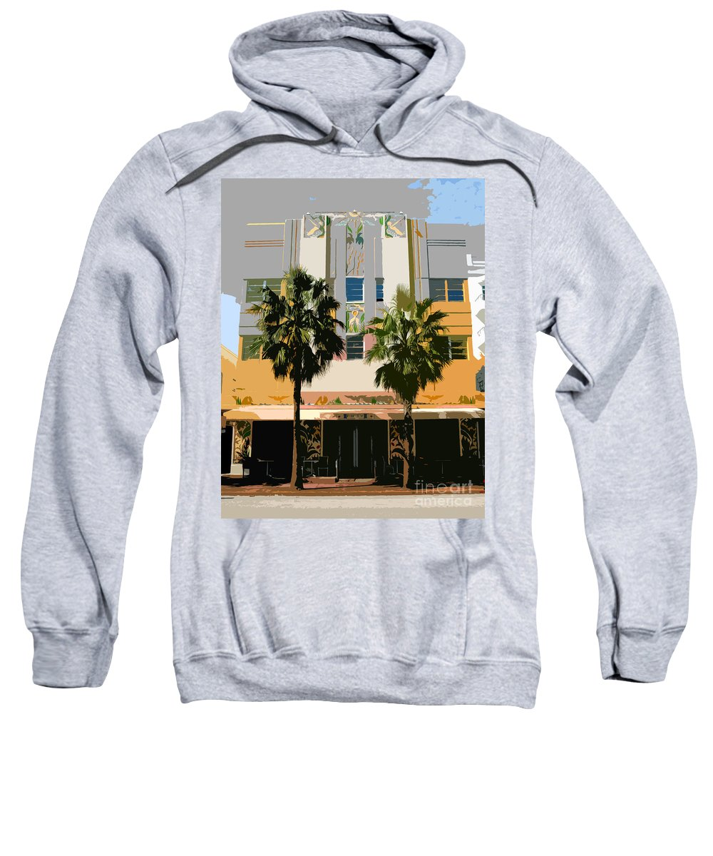 Miami Beach Florida Sweatshirt featuring the photograph Two Palms Art Deco Building by David Lee Thompson