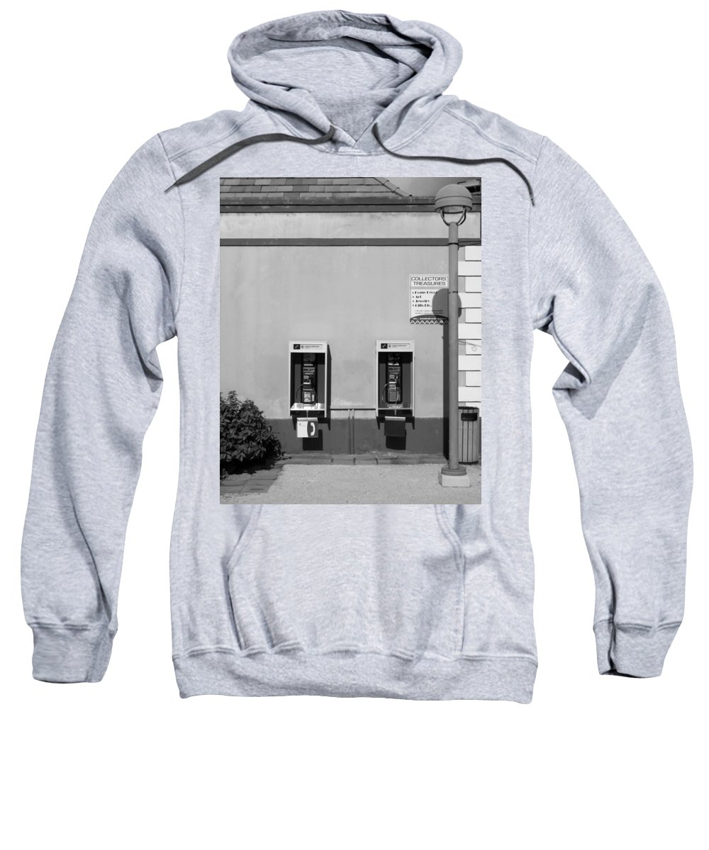 Pay Sweatshirt featuring the photograph Two Pay Phones by Perry Webster