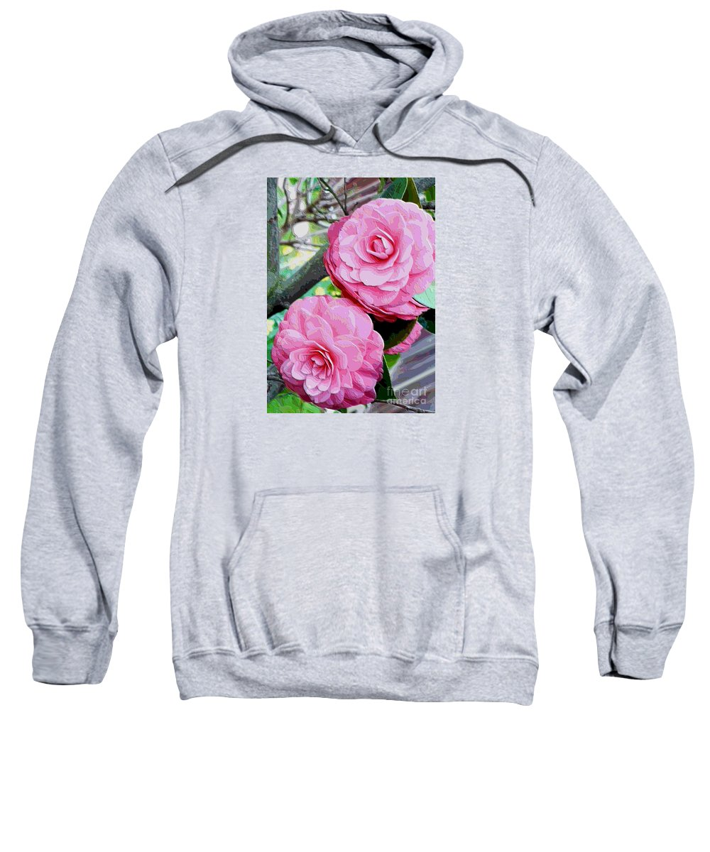 Camellia Sweatshirt featuring the photograph Two Pink Camellias - Digital Art by Carol Groenen