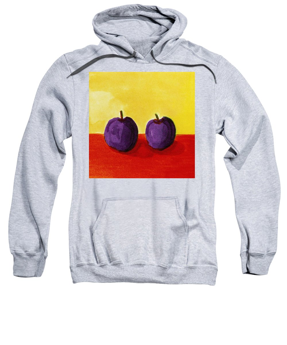 Yellow Sweatshirt featuring the painting Two Plums by Michelle Calkins