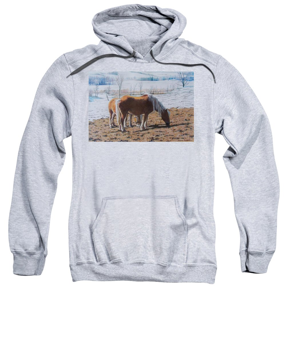 Horses Sweatshirt featuring the mixed media Two Ponies In The Snow by Constance Drescher