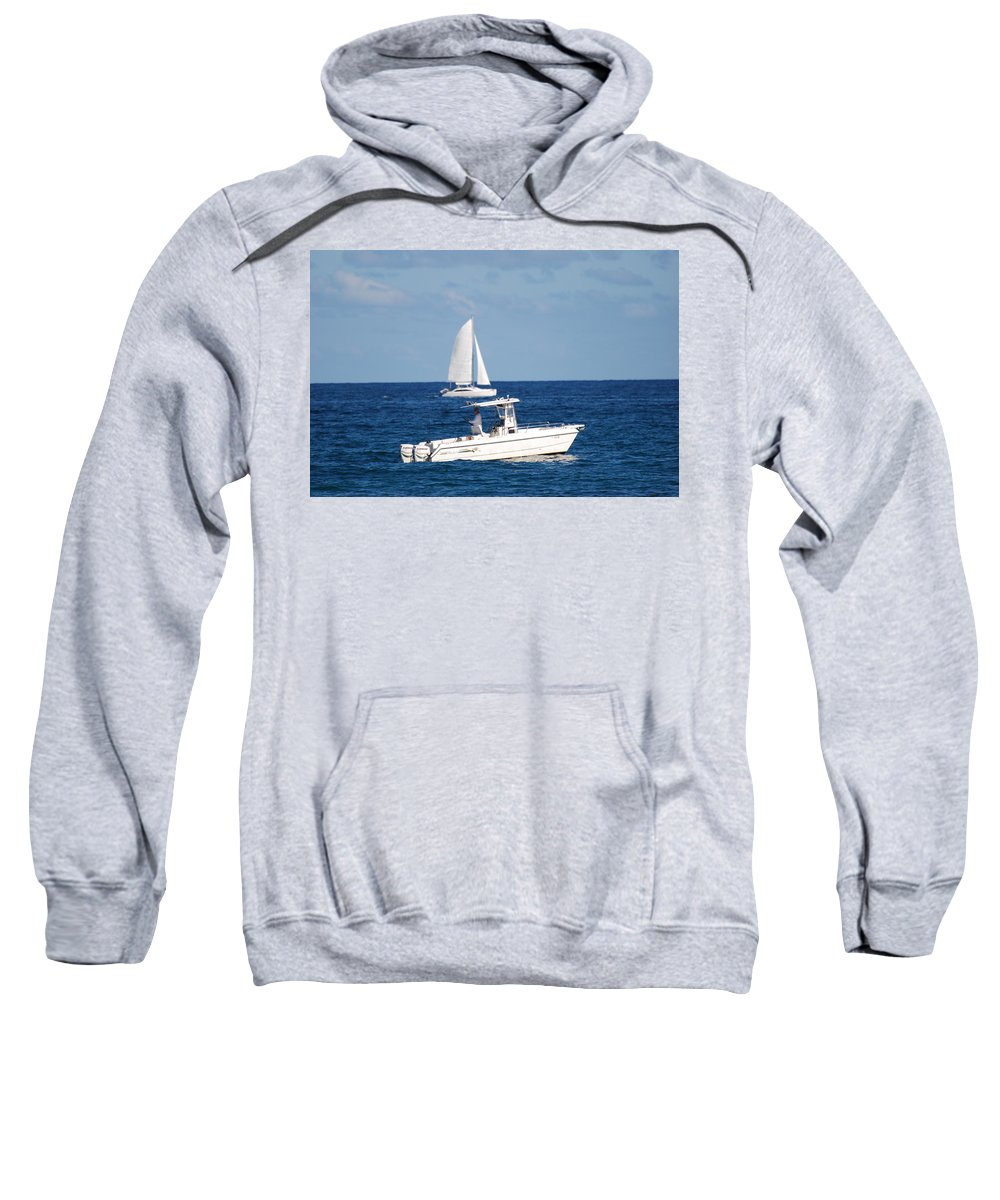 Sea Scape Sweatshirt featuring the photograph Two Ships That Pass Thru The Day by Rob Hans
