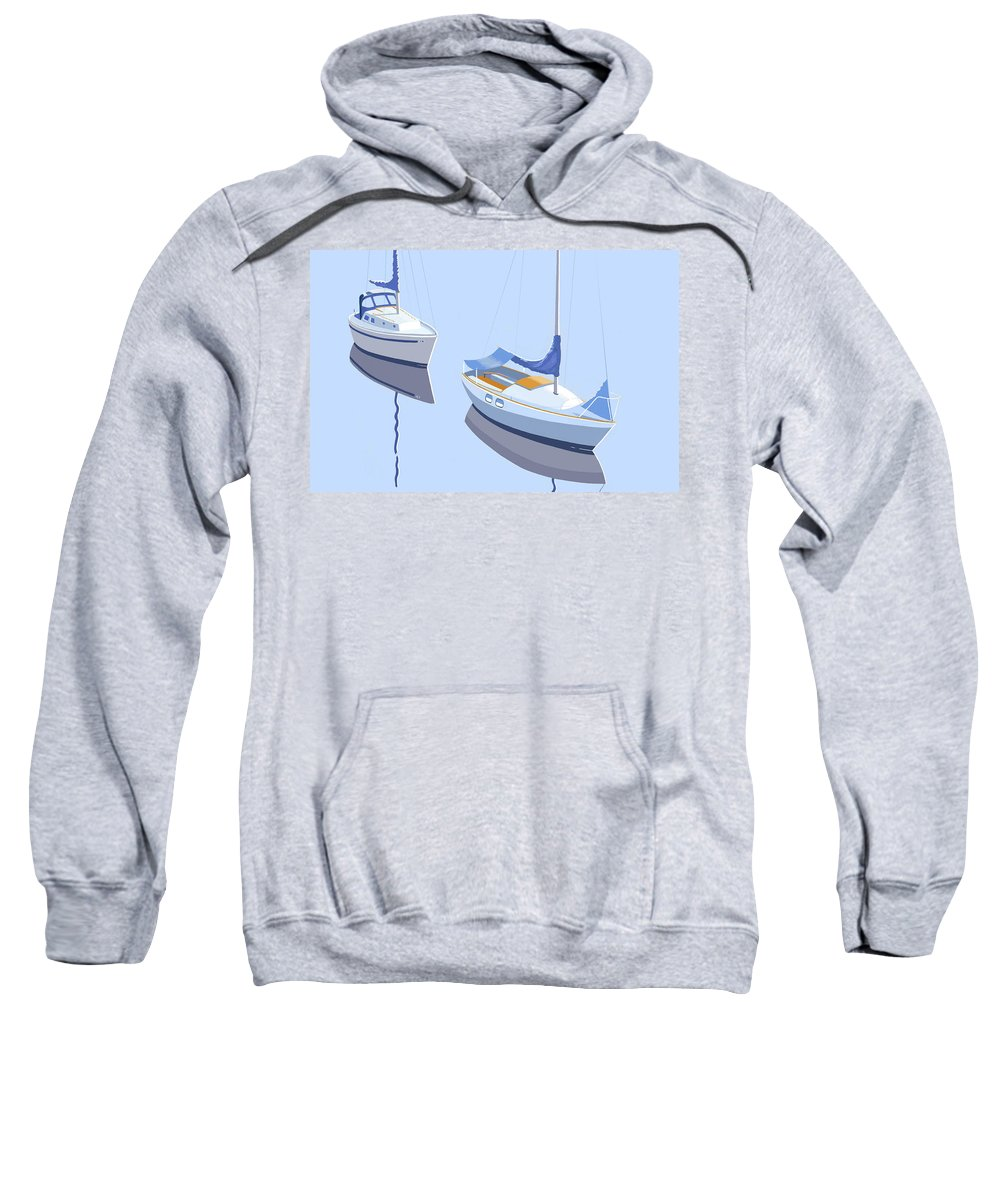 Sloop Sloops Sailboats Sail Boats Sailing Marconi Tranquil Water Cruising Floating Moored Restful Summer Idyll Serene Sweatshirt featuring the digital art Two Sloops by Gary Giacomelli