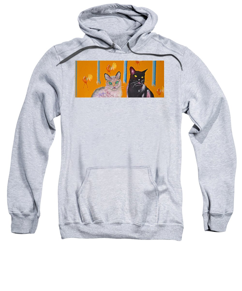 Cat Sweatshirt featuring the painting Two Superior Cats With Wild Wallpaper by Charles Stuart