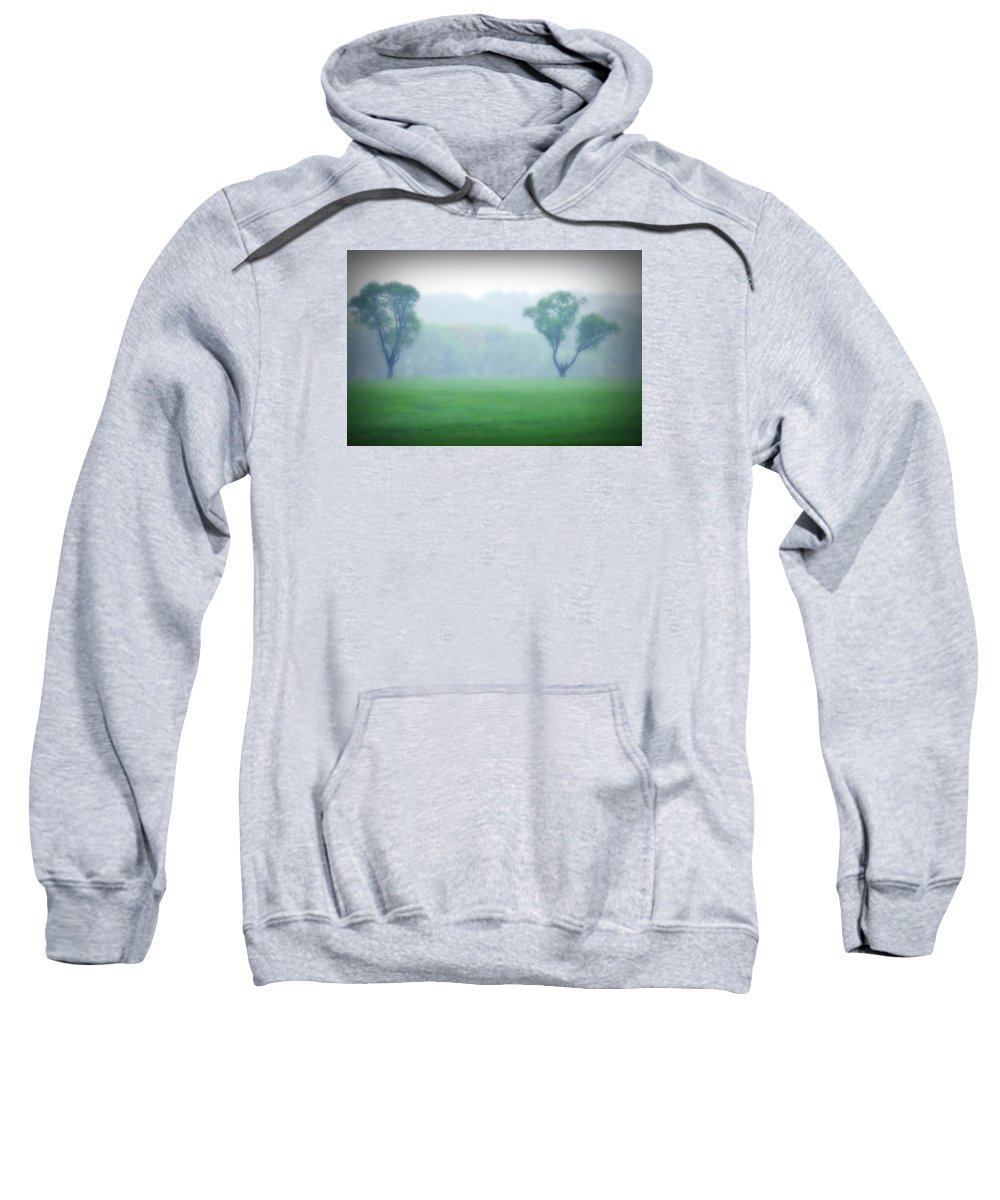 Trees Sweatshirt featuring the photograph Two Trees In The Mist by Bill Cannon