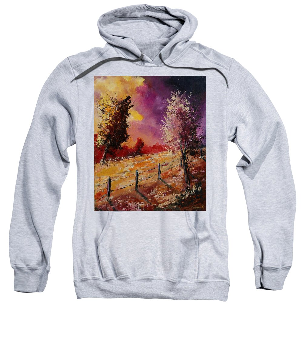 Tree Sweatshirt featuring the painting Two Trees Waiting For The Storm by Pol Ledent